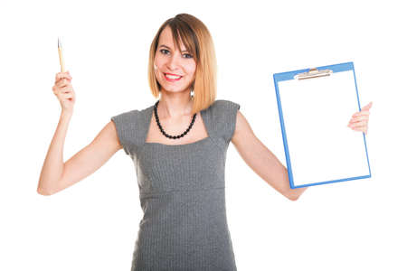 young business woman standing with her clipboard isolated on white background photo