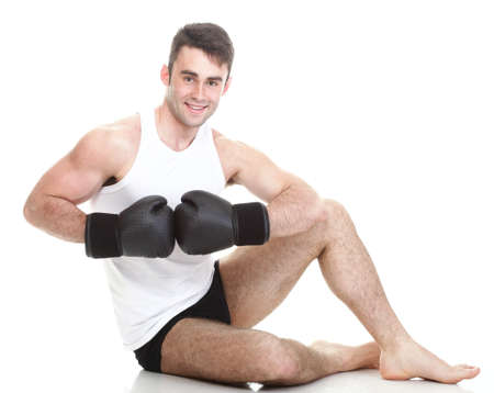 Sport health studio picture from a young boxer isolated on white photo