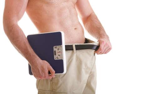 Muscoloso corpo maschile e la scala isolato su sfondo bianco Archivio Fotografico