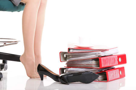 Stuck in work concept woman businesswoman on careers rest break