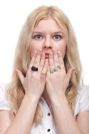 bright picture of pretty woman with hands over mouth photo