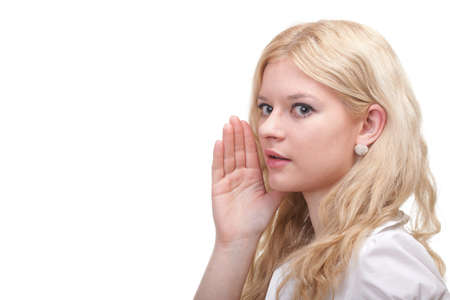 eavesdropping: Business woman eavesdropping with hand behind her ear