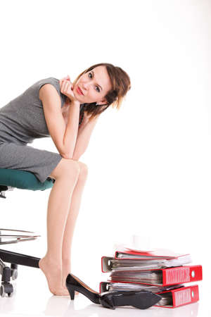 happy excited young businesswoman, relaxing in office chair, relax isolated on white Stock Photo - 14063830