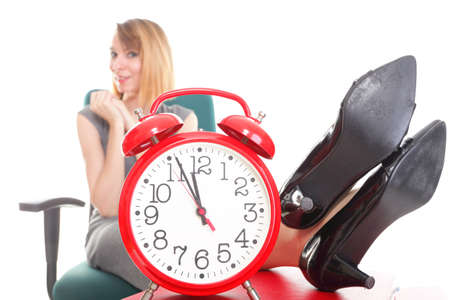 woman businesswoman holding plenty of documents isolated white red folder clock time Young relaxing legs up Stock Photo - 14069321