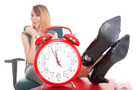 stoppage: woman businesswoman holding plenty of documents isolated white red folder clock time Young relaxing legs up