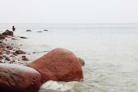 Fisherman Stones in sea water autumn sea in Orlowo, Gdynia Poland Stock Photo - 14215168