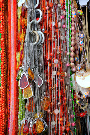 Beautiful red colour gemstone necklace background - nobody photo