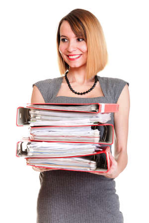 file clerks: woman Overworked businesswoman holding plenty of documents isolated white red folder
