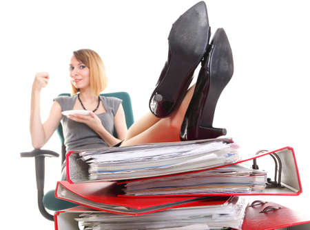woman businesswoman holding plenty of documents isolated white red folder clock time Young relaxing legs up