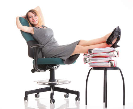 woman businesswoman holding plenty of documents isolated white red folder clock time Young relaxing legs up photo