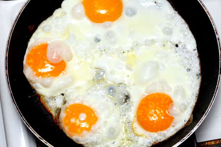 pan full of scramble eggs in a frying pan Stock Photo - 15747540