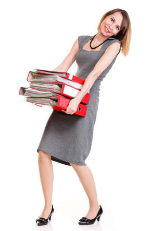 woman Overworked businesswoman holding plenty of documents isolated white red folder Stock Photo - 15955433