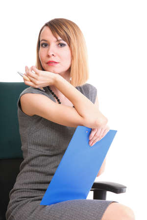 young business woman sitting with her clipboard isolated on white background Stock Photo - 15955511