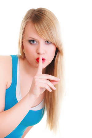 Young woman blonde girl asking for silence white isolated Stock Photo - 17391149