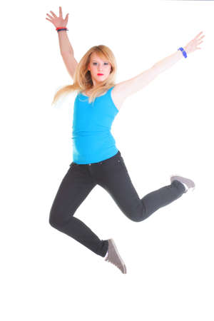Zumba fitness woman exercising zumba dance class aerobics in full length isolated on white background. photo