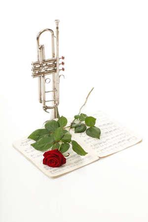 letras musicales: rosa roja y las notas antiguas notas de trompeta fondo blanco love music