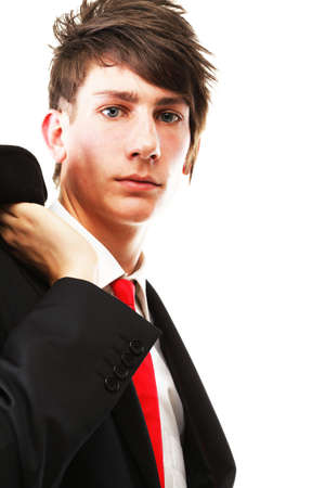 conceited: Fashion young businessman black suit casual red tie on isolated white background