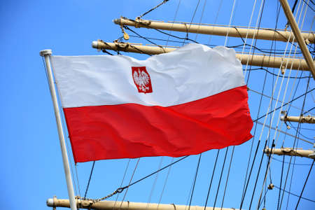 Flag of Poland on blue sky ship outdoor Stock Photo - 20708300