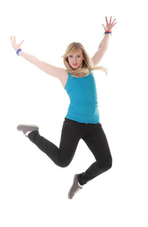 Happy woman jumping with arms up in full length isolated on white background photo