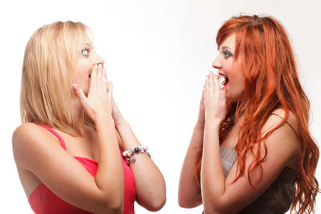 bruit: two happy young girlfriends blond and ginger talking white background - society gossip, rumor, rumour