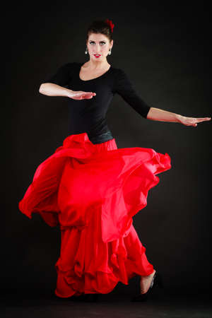 sexy girl dance: Art. Full length of sexy spanish girl attractive woman in red long skirt dancing flamenco traditional dance.