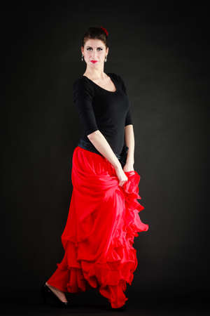 sexy girl dance: Art  Full length of sexy spanish girl attractive woman in red long skirt dancing flamenco traditional dance