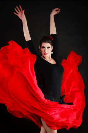 sexy girl dance: Art  Sexy spanish girl attractive woman in red long skirt dancing flamenco traditional dance