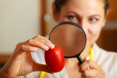 test: Mature woman female inspecting testing tomato food with magnifying glass.