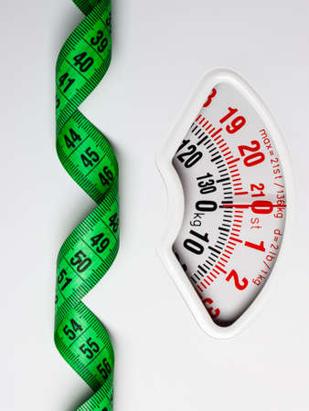 weightloss: Dieting weightloss slim down concept. Closeup measuring tape on white weight scale Stock Photo