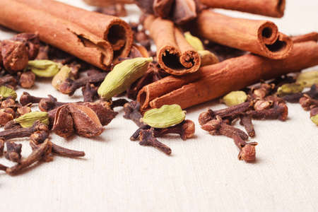 Spices for christmas cakes cinnamon sticks anise stars and cloves on burlap background 写真素材