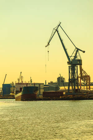 dockside: Heavy load dockside cranes in port, cargo container yard. Industrial scene