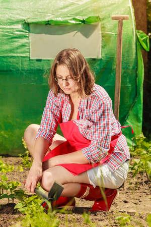Ältere Frau mit Gartengeräte, die in ihrem Garten im Hinterhof im Freien