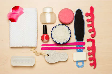 chiropody: Foot care. Pedicure accessories set tools top view Stock Photo