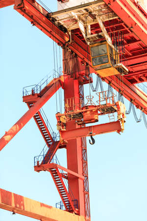 commerce and industry: Commerce transport industry cargo machine technology concept. Lonely crane in port. Industrial device in maritime facility.