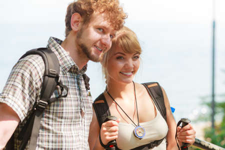 backpackers: Backpackers couple on summer vacation trip journey.