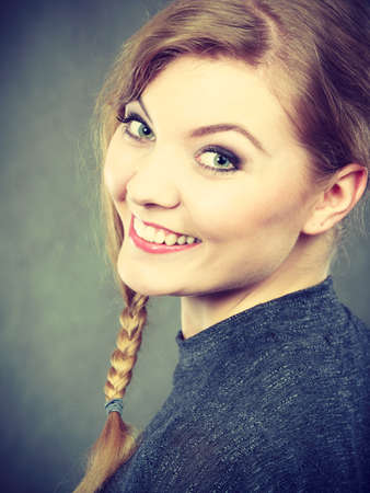 enjoyable: Joy and happiness concept. Gorgeous lovely smiling girl portrait. Blonde young woman full of positive emotions. Happy enjoyable lady on gray.