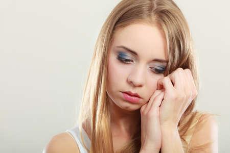 negative emotion: Loneliness negative emotion concept. Young sad stressed woman closeup