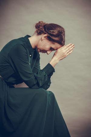 Sad woman retro style portrait long dark gown, vintage photo Banco de Imagens