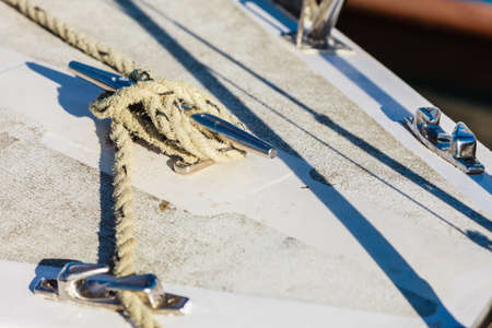 yachting: Yachting. Sailboat view of different parts of yacht, block with rope. Detail of a sailing boat
