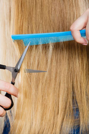 coiffure: Cutting down and shearing concept. Blonde woman cuts and combing her straight smoothy fair hair. Professionalist making new coiffure hairdo.