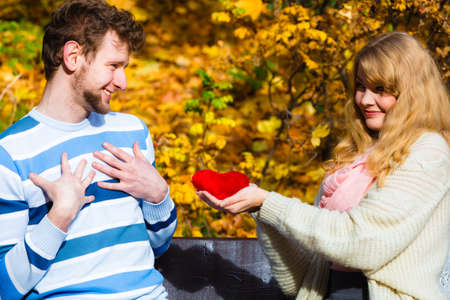 to confess love: Accepting and sharing feelings. Confessing love and affection with romantic gesture. Positive reaction. Pair sit on bench in park woman present plush heart toy to man. Stock Photo