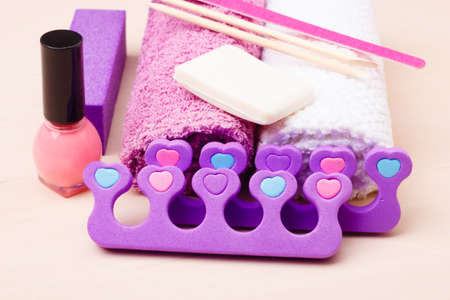 separator: Foot care and cosmetics. Pedicure accessories set tools closeup