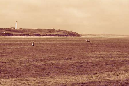 hirtshals: Beautiful seascape sea horizon and coastline with lighthouse Hirtshals, Denmark, Europe. Stock Photo