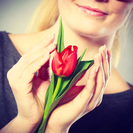 tenderly: Happiness leisure flora nature concept. Smiling woman embracing flower. Youthful blonde girl holding red tulip tenderly enshrining it in hands.