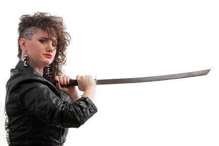 Girl - Ear super piercing woman dark hair natural brown-haired holding in her hands a katana photo