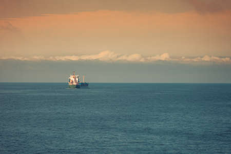 Beautiful seascape evening sea horizon and cloudy sky. Ocean landscape. Stock Photo