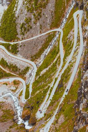 curve road: Trolls Path Trollstigen or Trollstigveien winding scenic mountain road in Norway Europe