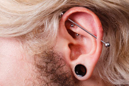 pierce: Stretched lobe piercing, grunge concept. Pierced man ear with black plug tunnel. industrial and rook