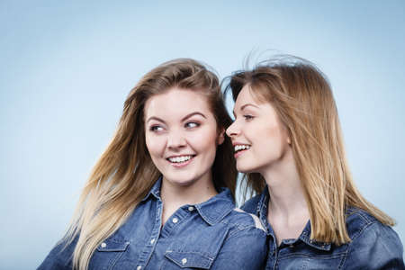 Friendship, human relations concept. Two happy women friends or sisters wearing jeans shirts having fun conversation.