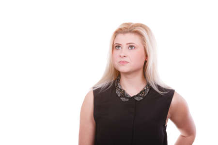 Feminity, expressions concept. Portrait of blonde woman with serious neutral face expression